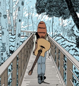 Personnage marchant (vu de dos) sur un pont avec une guitare en bandoulière