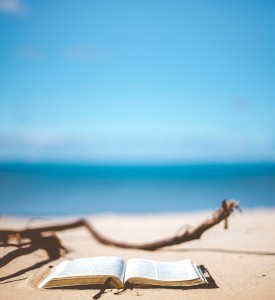 Un livre ouvert déposé sur une plage. Une branche de bois flotté est au premier plan.