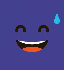 Personnage cartoon au sourire gêné