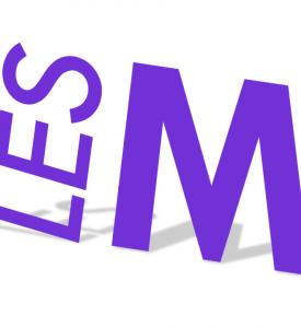 """Logo """"Les M"""". Letters stylisées violettes sur fond blanc."""