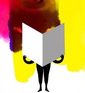 Un personnage (silhouette noire)  positionné de face tenant un livre. Fond multicolore constitué de tâches de peinture.