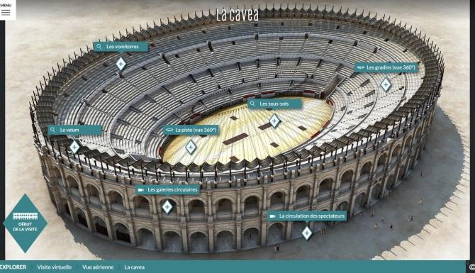 Vue interatcive des Arènes de Nîmes