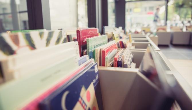 Vue des bacs à livres