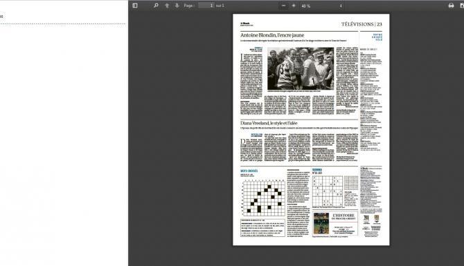Extrait du module de lecture d'un article en mode feuilletage