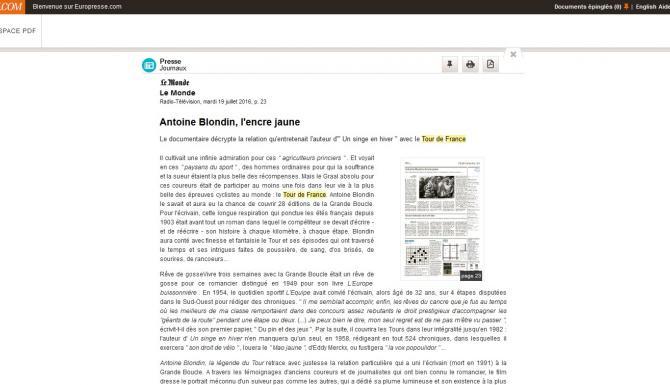 Extrait du module de lecture d'un article en mode plein texte
