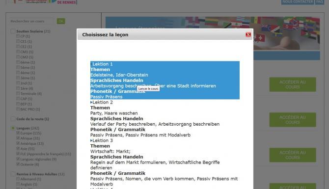 Fenêtre de dialogue présentant sous forme de menu les différentes leçons d'un module de langue.