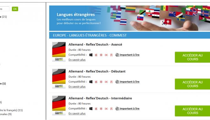 Extrait du module apprentissage langues