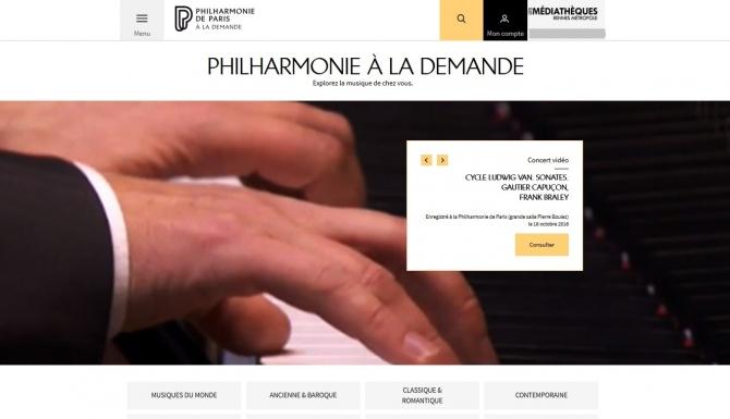 Page d'accueil de la Philharmonie à la demande
