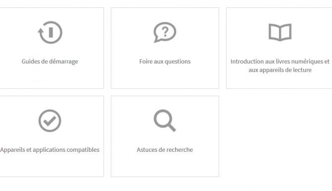 """Page d'aide de Cantook, avec des rubrique comme """"démarrage"""", foire aux questions etc"""