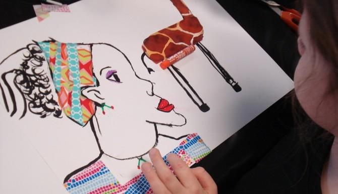 Chartres - dessin d'enfant représentant une femme et une girafe