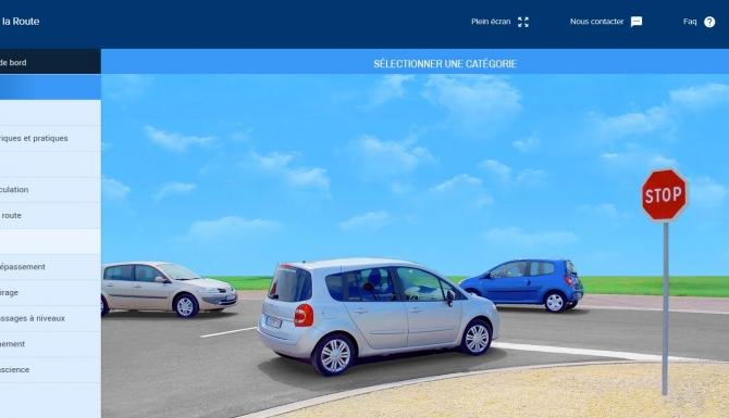 Menu de sélection des épreuves d'entraînement au code de la route par Permisécole.