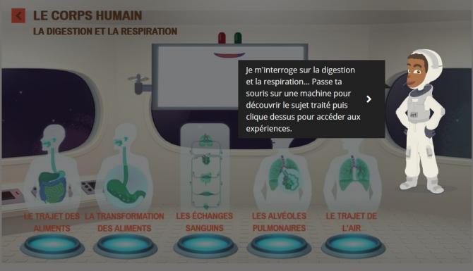 Extrait du jeu dédié à la découverte du corps humain : personnage présentant le système respiratoire