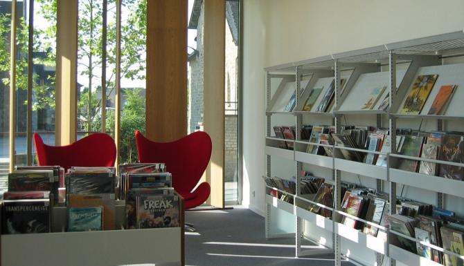 vue de l'espace BD. Deux fauteuils relax design de couleur rouge sont disposés entre les bacs et étagères.