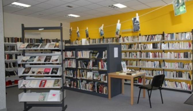 espace adultes avec des présentoirs de livres et de srayonnages