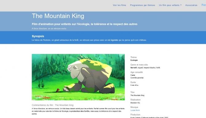 """Fiche consacrée au film d'animation """"The Mountain King."""