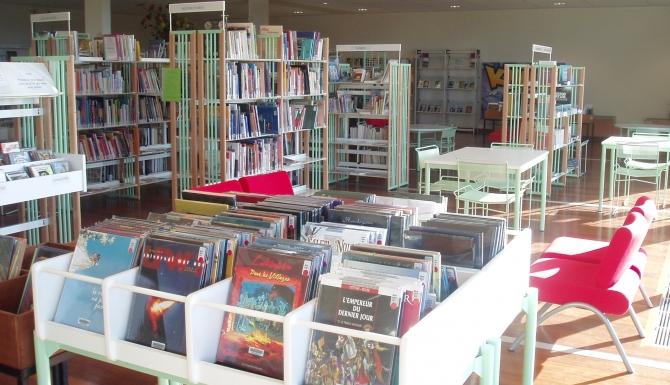 Vue des espaces. Des bacs albums et BD en premier plan.