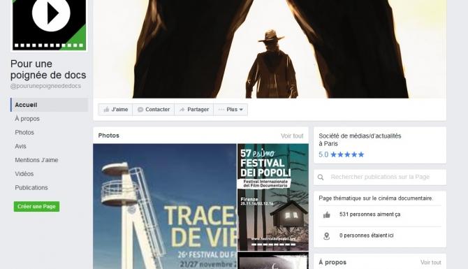 """Page d'accueil du Facebook """"Pour une poignée de docs"""""""