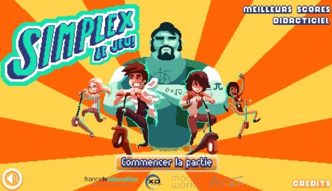 Page d'accueil du jeu dédié aux maths : affichage type jeu vidéo d'arcade avec mosaïque de personnages en action
