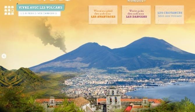 Photo de volcan avec menus contextules pour interactions