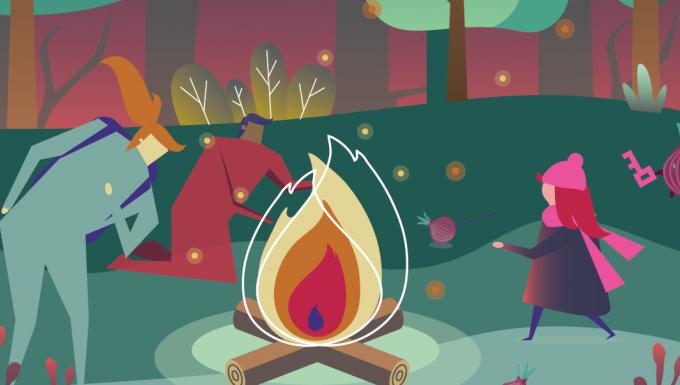 Des personnages dans une forêt autour d'un feu de camp