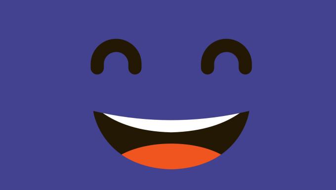 Illustration d'un personnage souriant sur fond de couleur mauve