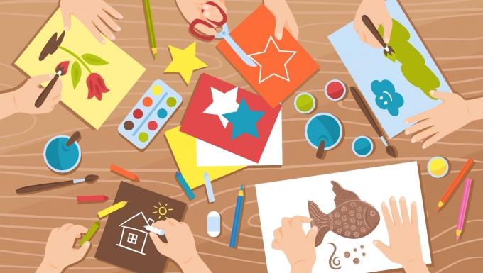 Illustration d'activités de loisirs créatifs.