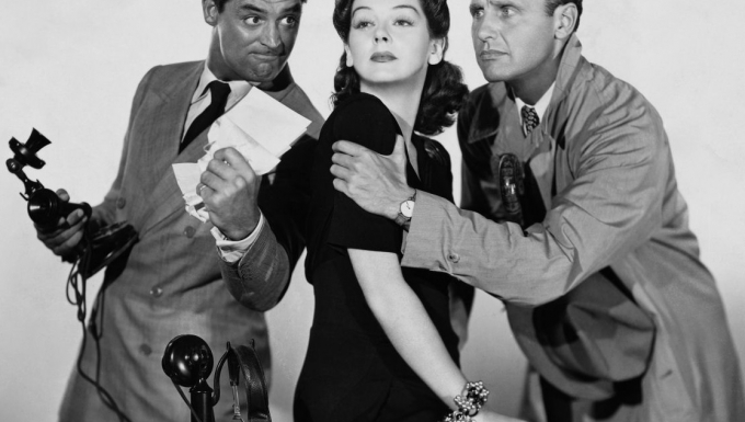 Cary Grant, Rosalind Russell et Ralph Bellamy.