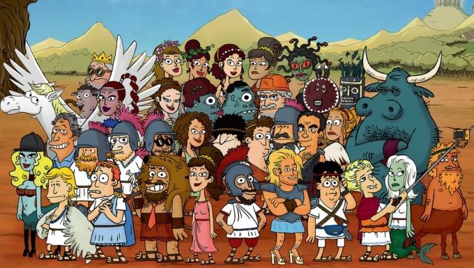 Illustration mettant en scène les 50 personnages antiques de la série d'animation.