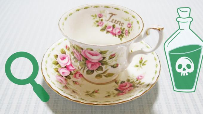 Une tasse de thé entouré de deux pictos (une loupe une bouteille de poison).