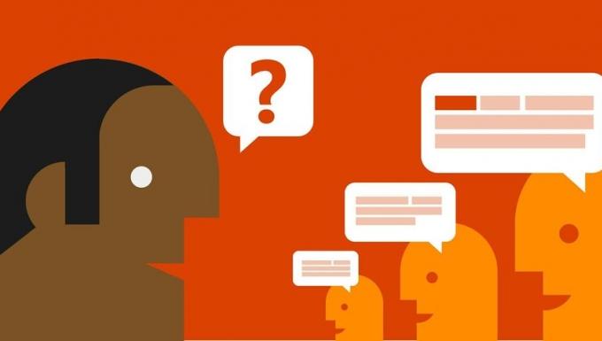 Un personnage positionné à gauche émet une question symbolisée par une bulle contenant un point d'interrogation. Trois autres personnages lui faisant face formulent des réponses par le biais de bulles.