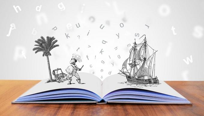 Un livre ouvert avec un scène de fiction prenant vie.