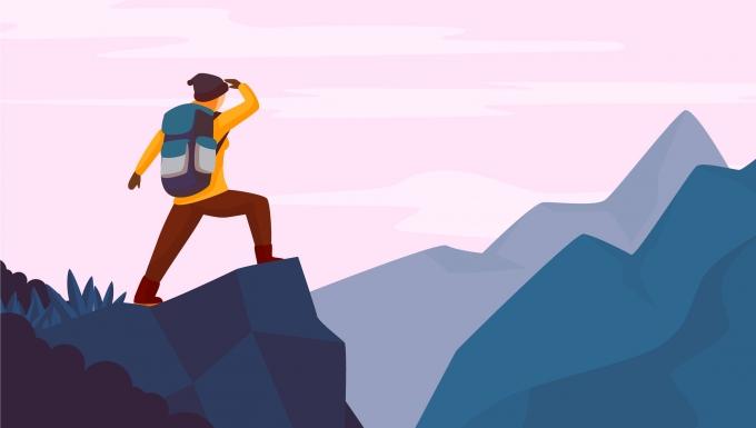 Illustration d'une randonneuse sur un sommet.