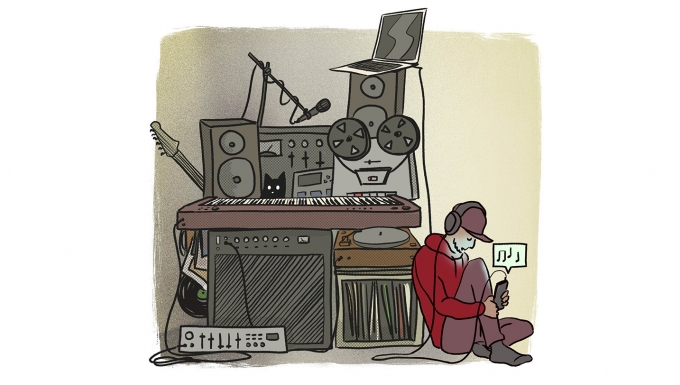 Illustration d'un personnage écoutant de la musique dans son home studio.