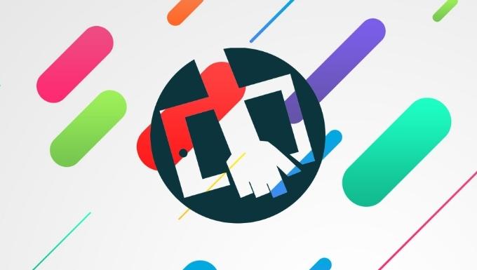 fonds avec des couleurs et formes variées et très stylisées. Logo de Bib Applis (une main tenant une tablette) par dessus
