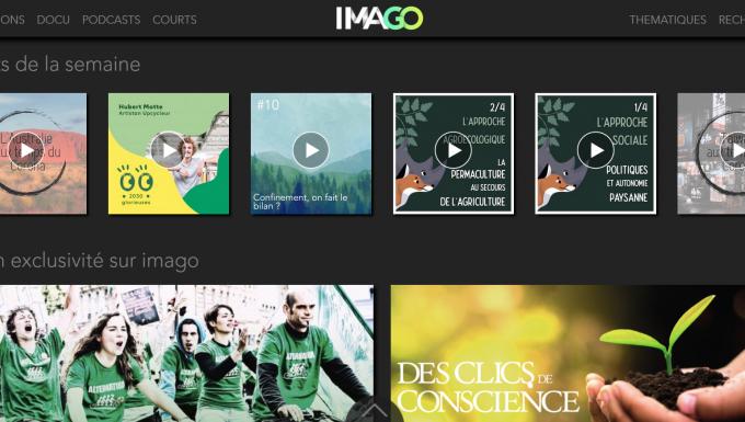 Mosaïque de contenus issus de la page d'accueil de la plateforme ImagoTV.