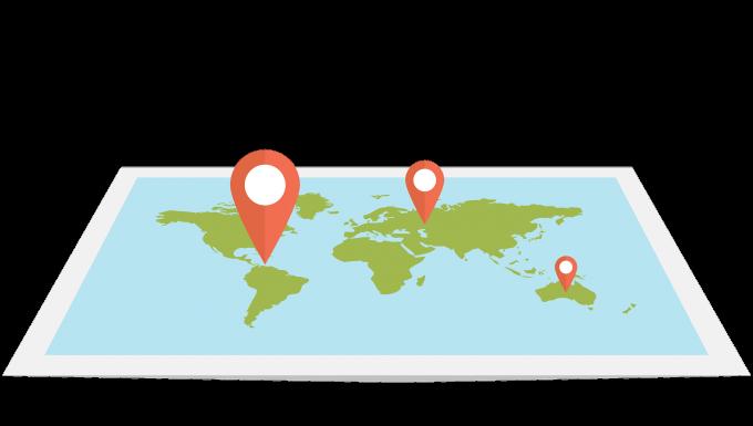 Illustration d'une carte du monde avec des punaises positionnées.