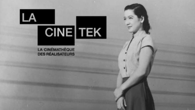 Une femme japonaise. Image tirée d'un film en noir et blanc