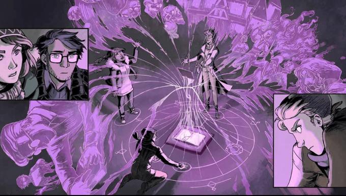 Illustration des personnages principaux réunis autour d'une tablette.