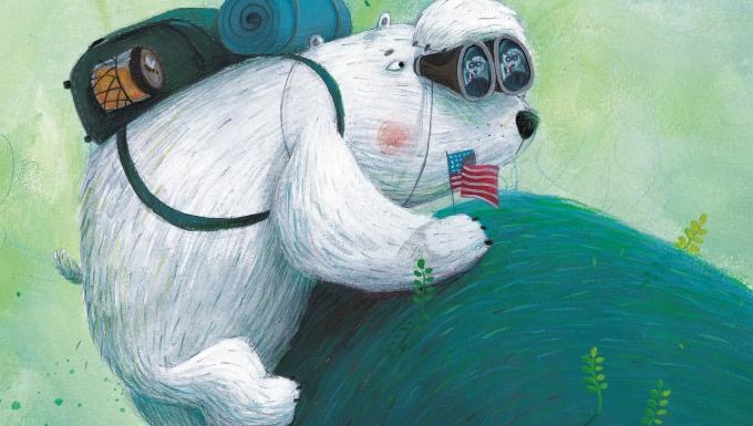 Un ours polaire avec un sac à dos