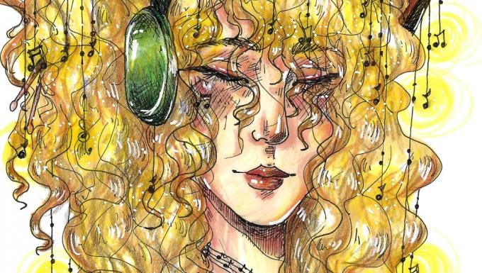 Dessin style BD d'une femme ayant dans sa chevelure plusieurs instruments