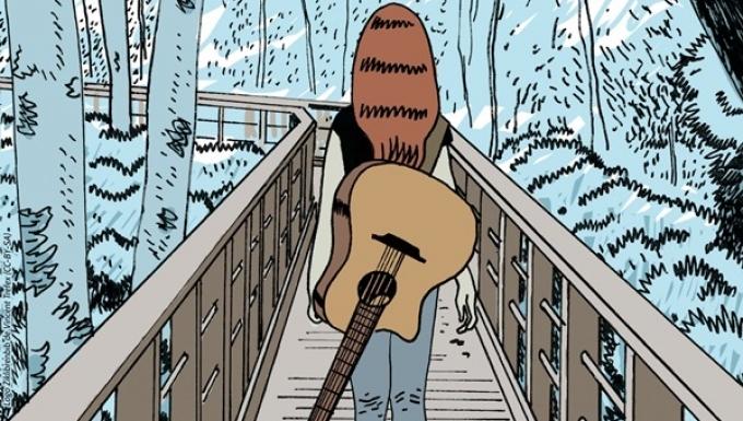 Dessin type BD avec une femme de dos, avec une guitare dans le dos traversant un pont