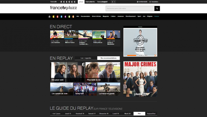 Mosaîque de la page d'accueil de Francetv pluzz