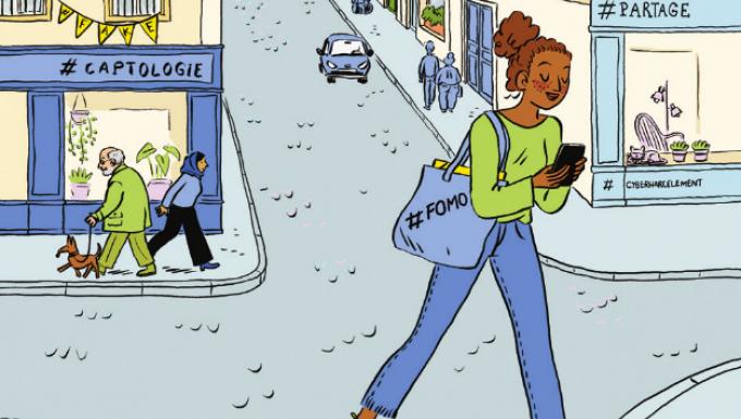 Illustration d'une jeune femme marchant dans la rue en consultant son smartphone.