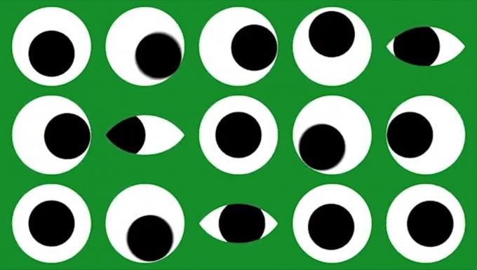 Illustration de plusieurs pupilles en mouvement sur fond vert.