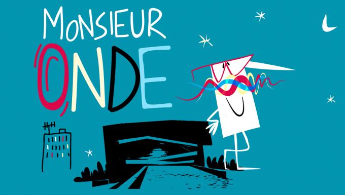 Le personnage de M. Onde : un bonhomme rectagulaire avec de grands moustaches en forme d'ondes et des lunettes