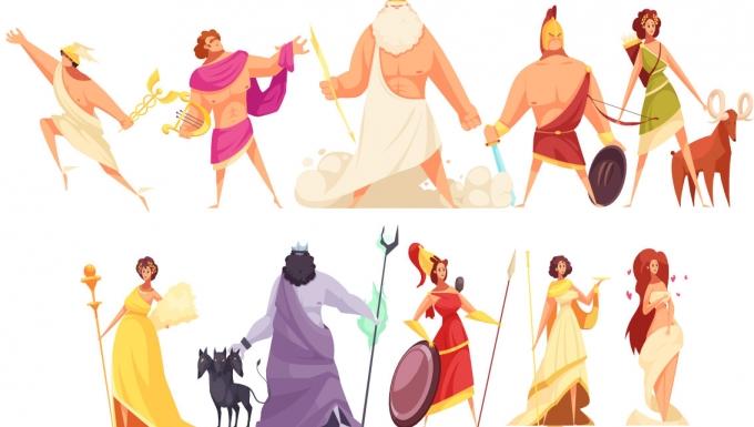 Différents personnages mythologiques rassemblés