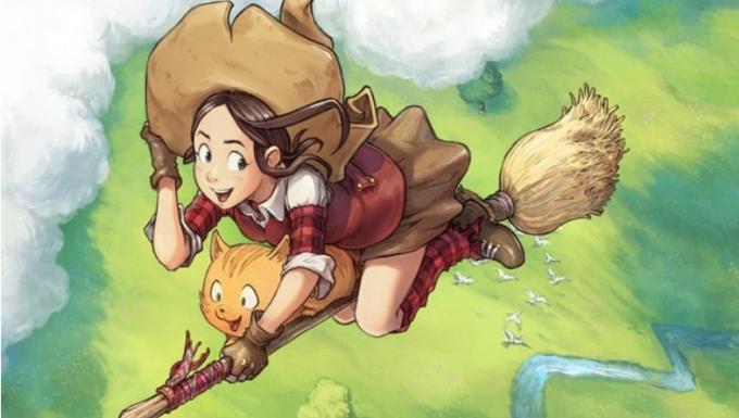 Dessin d'une jeune sorcière volant sur son balai accompagnée de son chat.