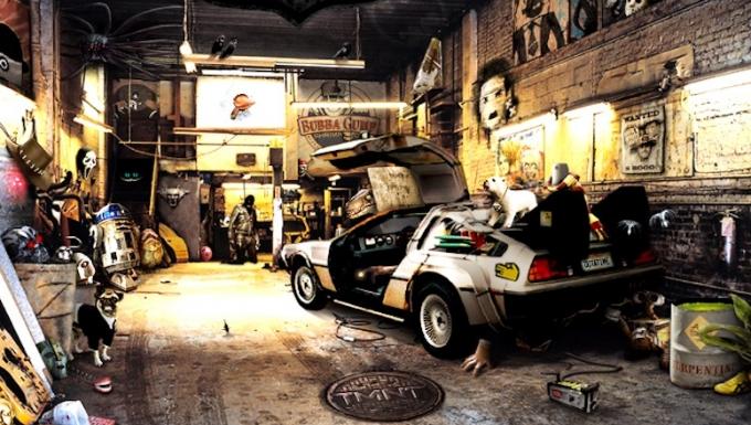 une capture du fameux garage dans lequel on doit retrouver les références à des films
