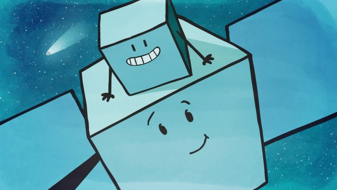 Illustration des deux satellites Rosetta et Philae.