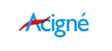logo de la ville d'Acigné. Le mot Acigné est en bleu à l'exception de la barre horizontale du A qui est rouge en forme de vague